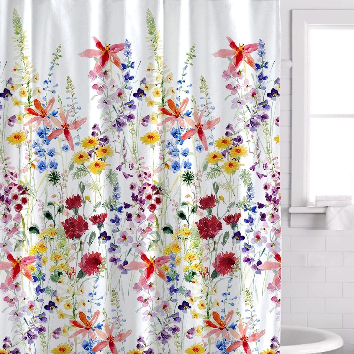 Watercolor Poppy Flower Waterproof Fabric Shower Curtain Liner Bath Accessory
