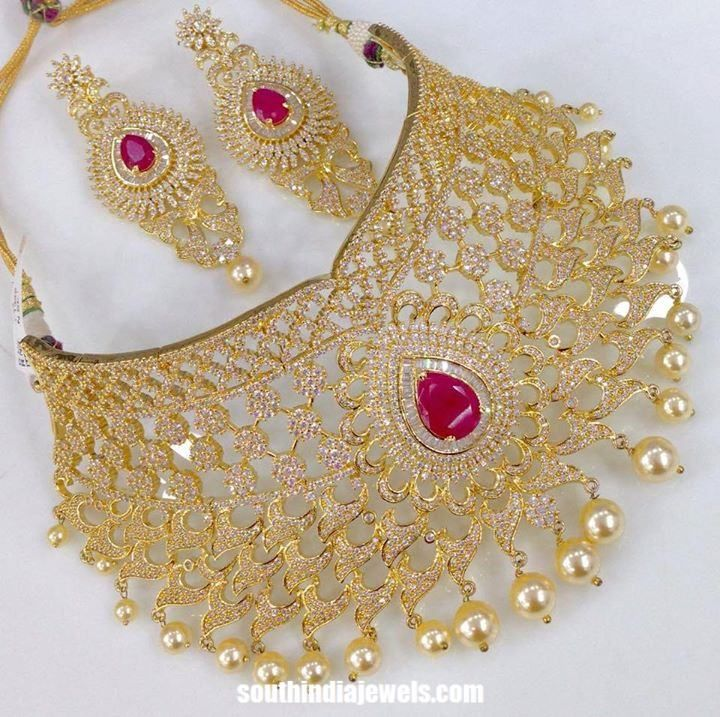65d9c1405d105e Bridal Imitation Choker Necklace Set | Jewellery of India | Gold ...