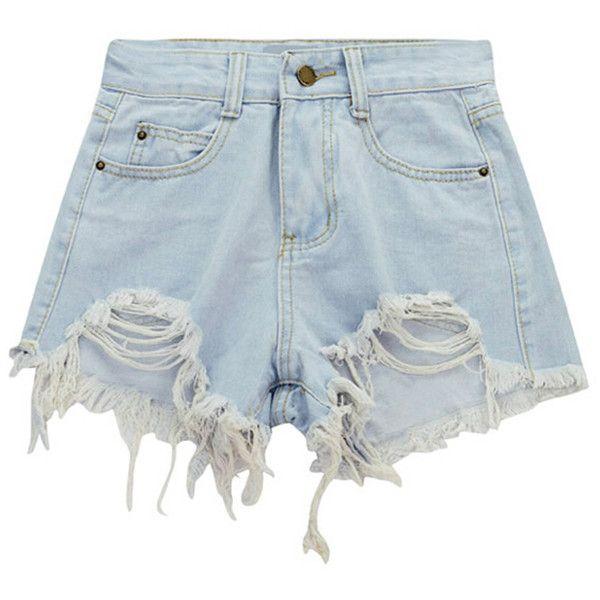 Chicnova Fashion Raw Hem Distressed Denim Shorts (850 RUB) ❤ liked on Polyvore featuring shorts, bottoms, destroyed shorts, high-waisted shorts, distressed shorts, torn shorts and high waisted ripped shorts