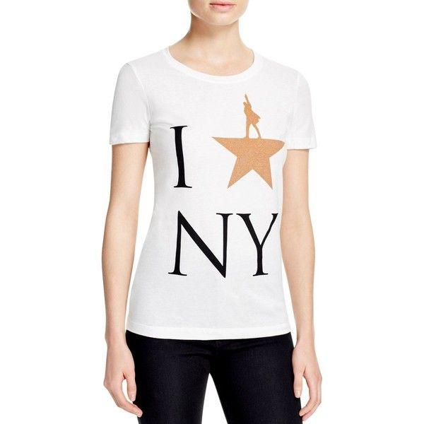 Hamilton I Star Ny Tee ($42) ❤ liked on Polyvore featuring tops, t-shirts, logo t shirts, star tee, white tees, white logo t shirts and star t shirt