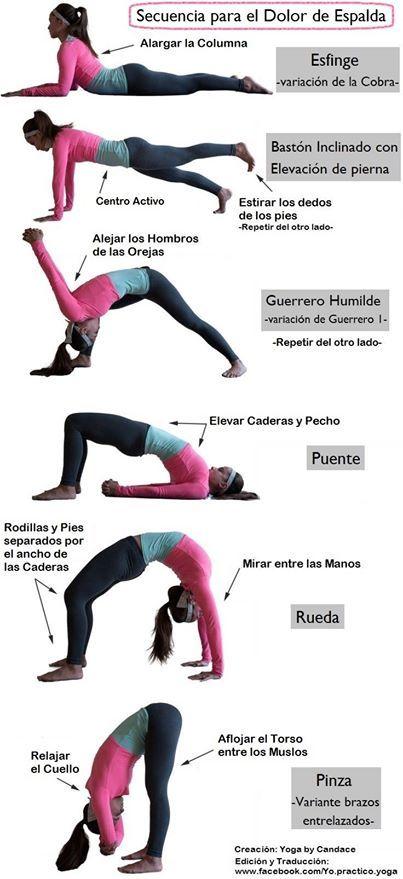 Posturas Secuencia Para El Dolor De Espalda Yoga Yoga Para La Espalda Ejercicios Para Dolor De Espalda Ejercicios De Yoga