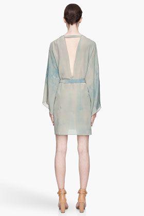 VERSACE Blue and green silk Tie Dye Kimono Dress