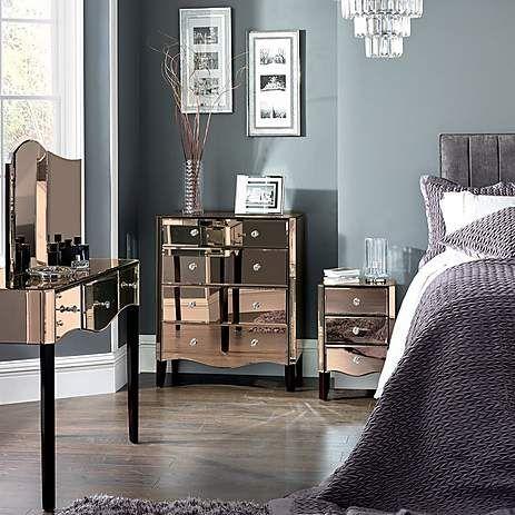 Viola Rose Gold Mirrored Nightstand Dunelm Mirrored Bedroom Furniture Rose Bedroom Bedroom Collections Furniture