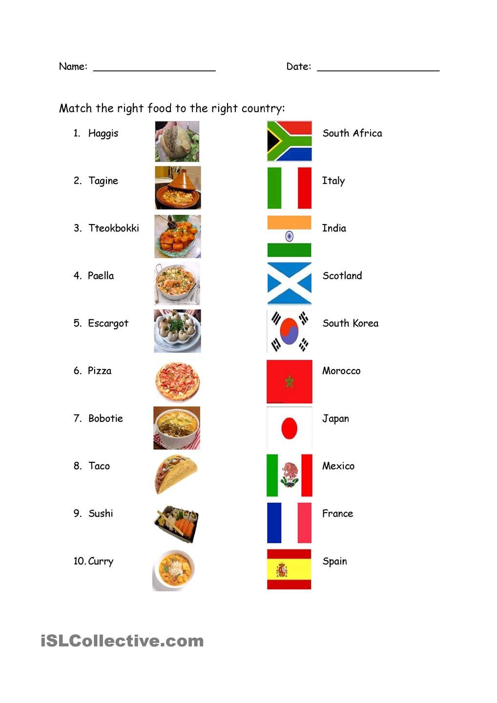 hight resolution of Food and Country Match   Nouns and adjectives