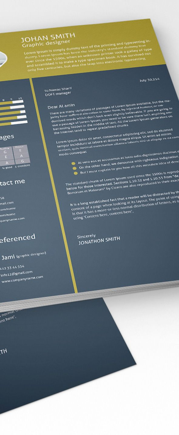 Free 3 Color Flat Resume Template Cover Letter For Graphic Designers 7