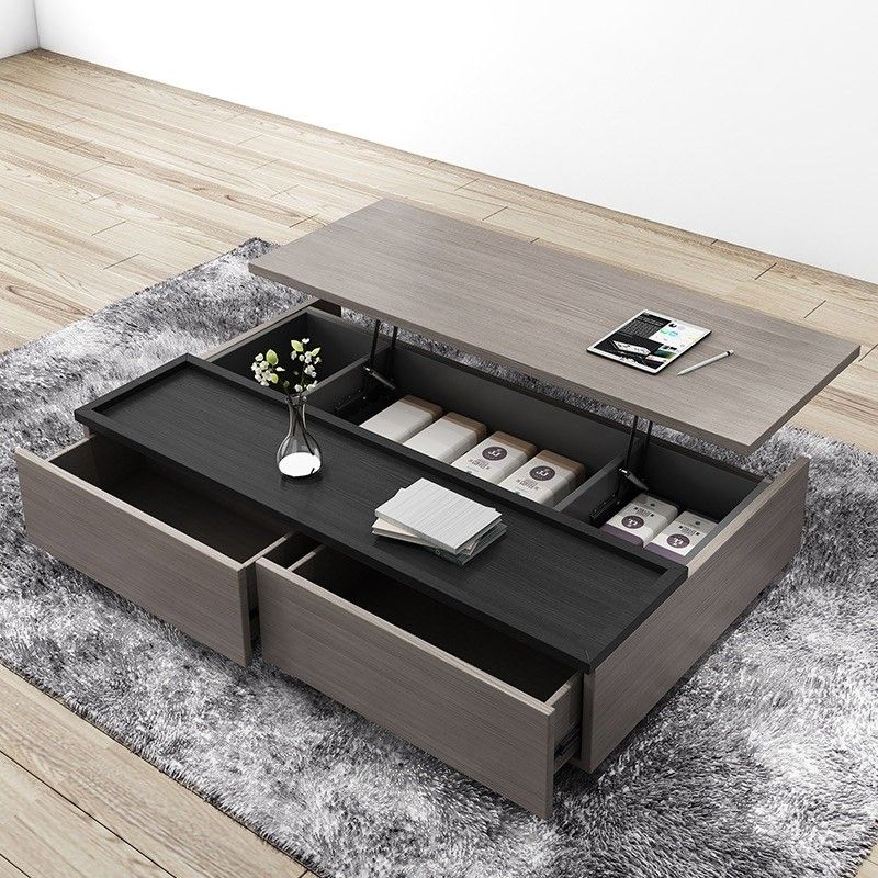 Modern Lift Top Wood Storage Coffee Table Gray And Black