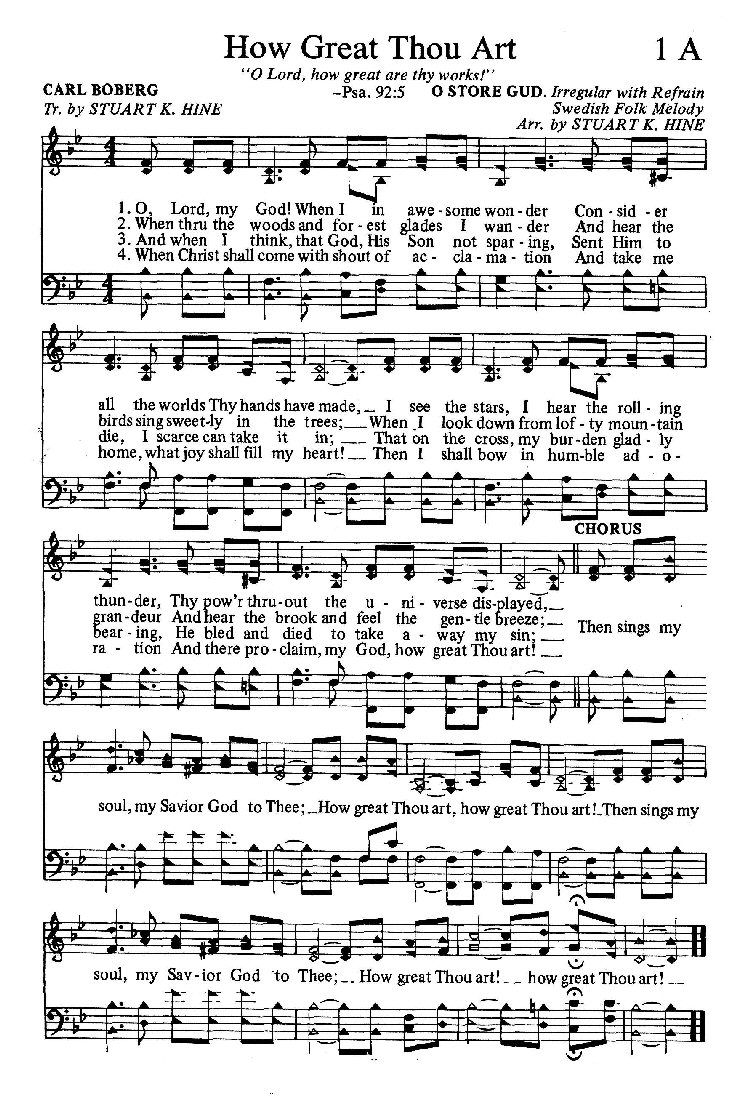 How great thou art hymn sheet music bible songs church