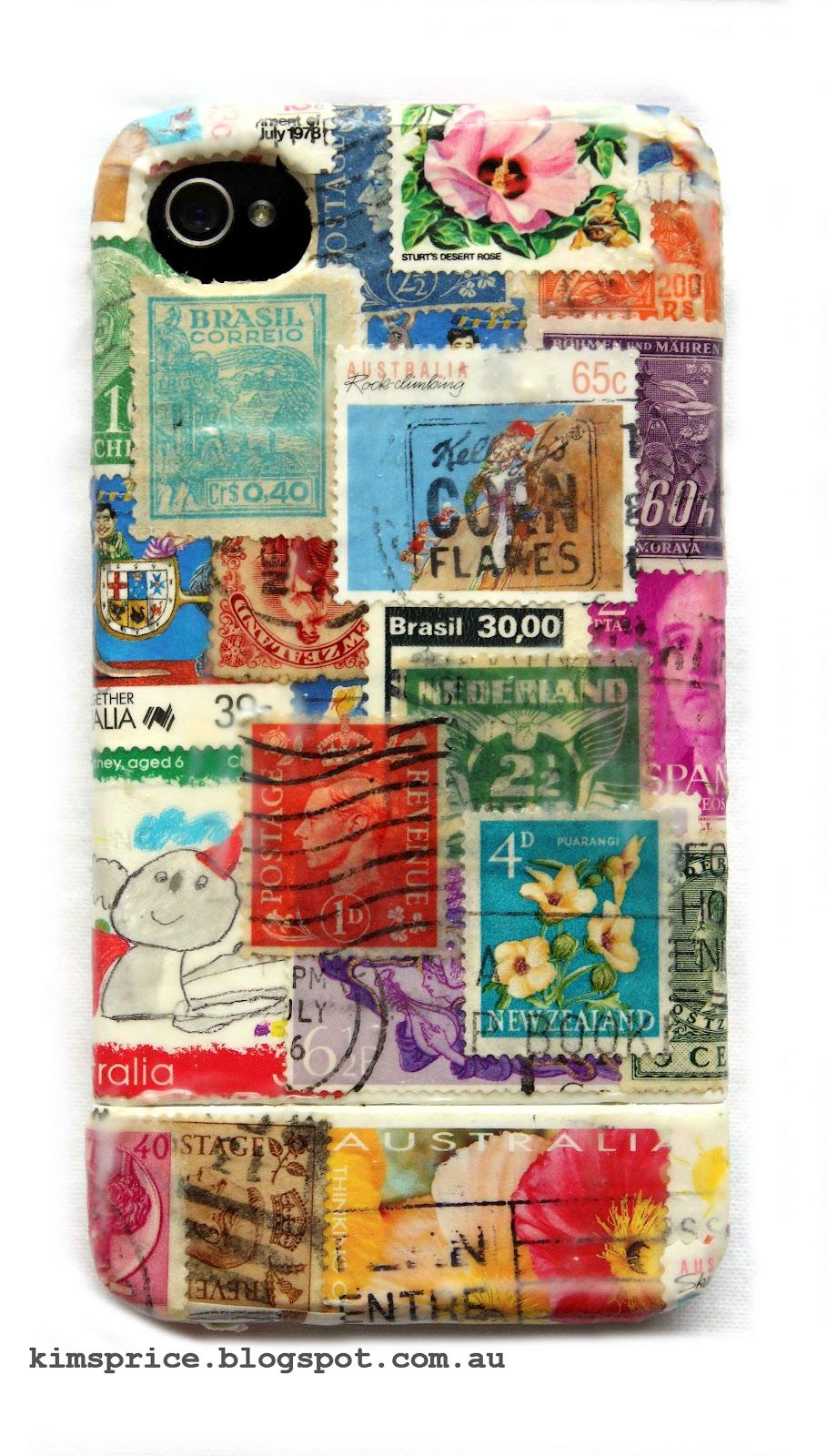 Iphone By Kim Price Inkognito Created Using Postage Stamps And Mod Podge Postage Stamp Art Postage Stamps Stamp