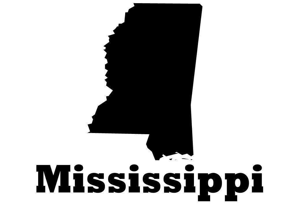 Mississippi State Map Silhouette Vinyl Wall Decoration With Heart - Us map white silhouette