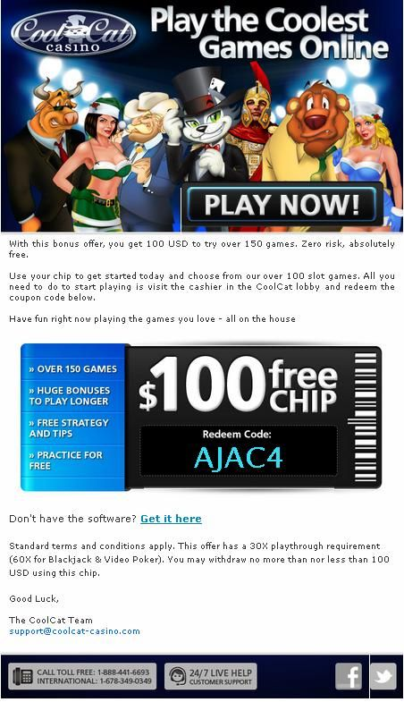 Cool Cat Casino Online Game 100 Free Chip Welcomes You Enjoy Over 150 The Coolest Casino Game Win Huge Jackpot Available Here To Take The Advantage O