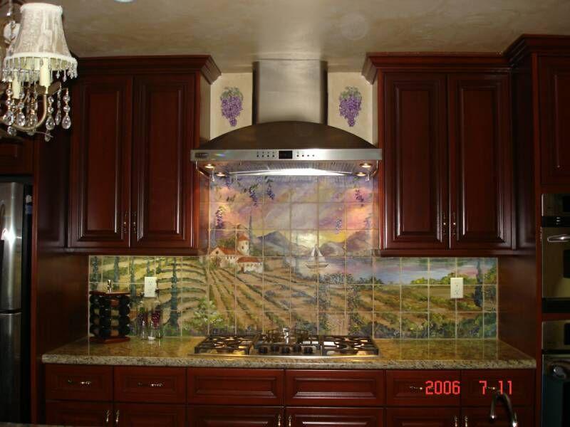 tre sorelle hand painted tile mural
