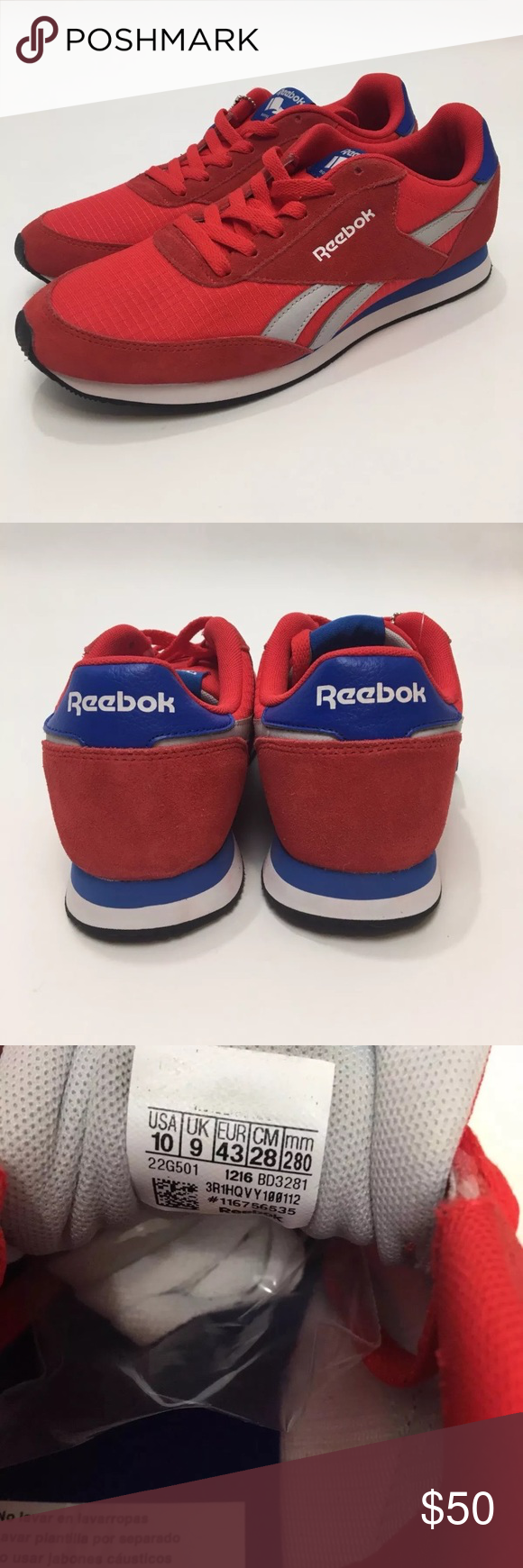 2af02584fb7 Reebok Classic Men s Retro Jogger Royal CL Red white and blue retro Reebok  jogger. Changeable to white laces included. Men s Size 10.