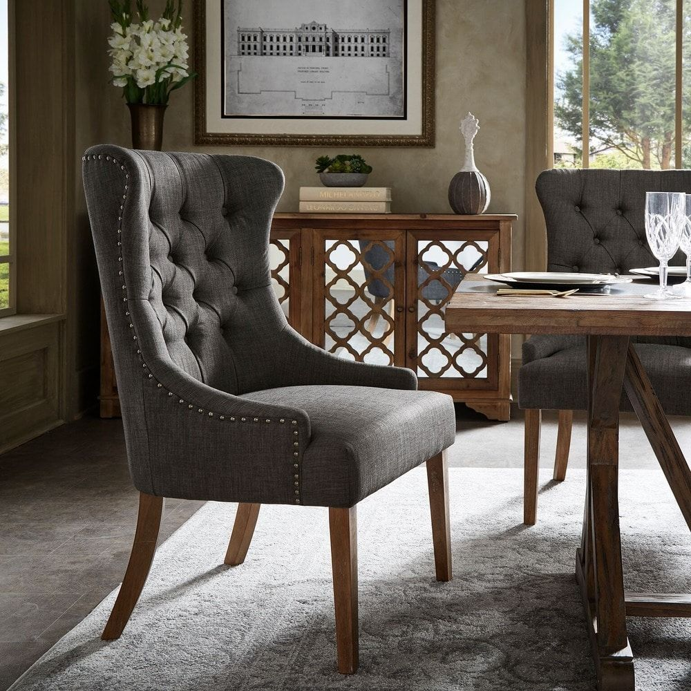 Kimpton upholstered button tufted wingback chair by
