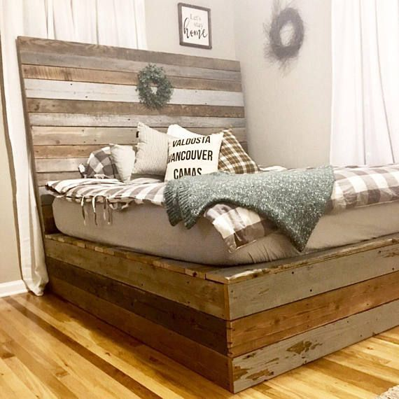 Modern Industrial Rustic Minimalist Reclaimed Recycled Wood Etsy Reclaimed Wood Bed Frame Reclaimed Wood Headboard Headboard