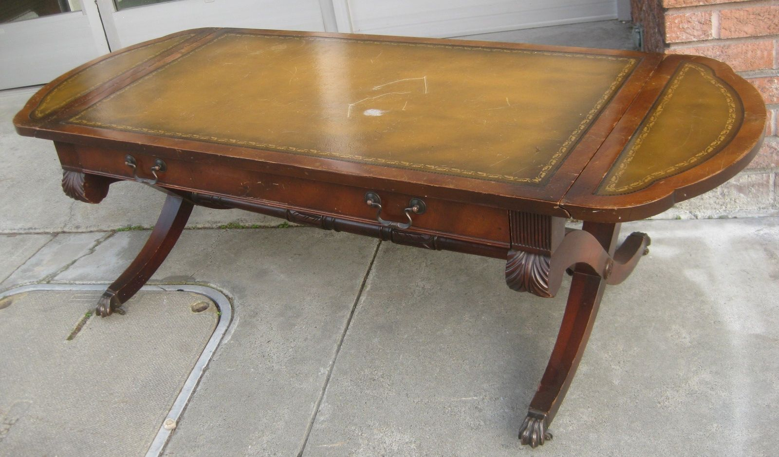 Antique Leather Inlay Coffee Table httptherapybychancecom