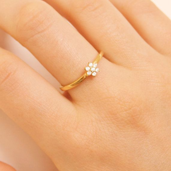 947412ce027b7 Daisy ring flower ring tiny cz gold ring tiny ring by SeolGold ...