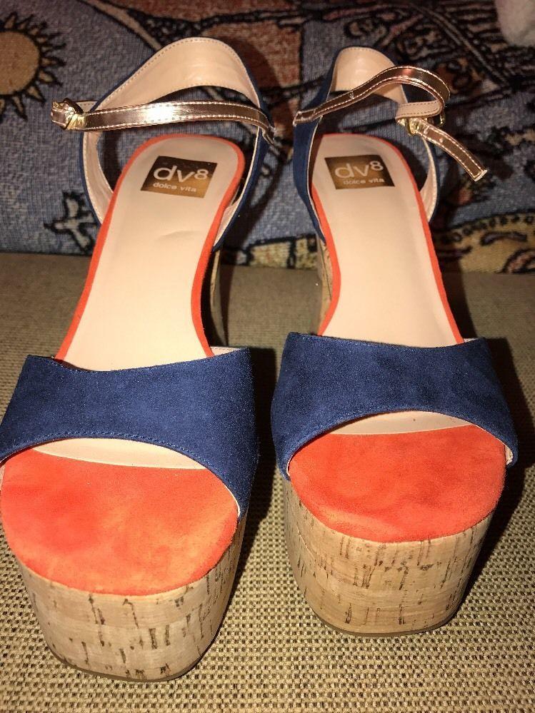 f8d3d10a4abc7 DV8 Dolce Vita 70s Retro Cork Platform Suede Sandals Orange Blue 7.5 ...