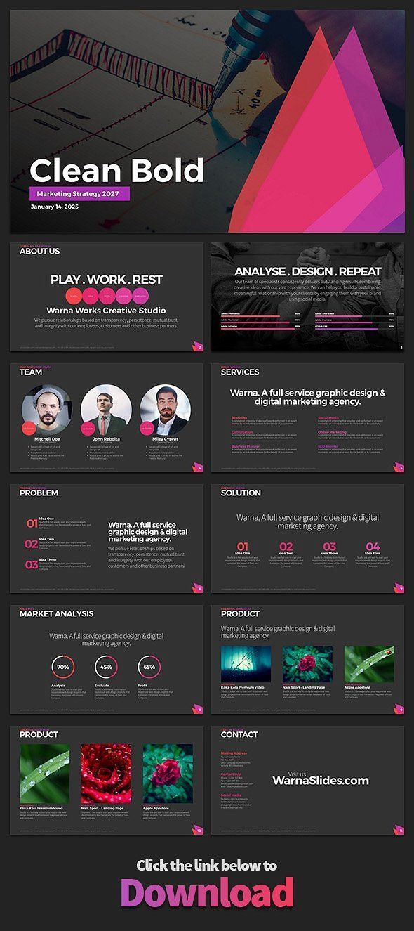 clean bold powerpoint template by warna works on creativemarket