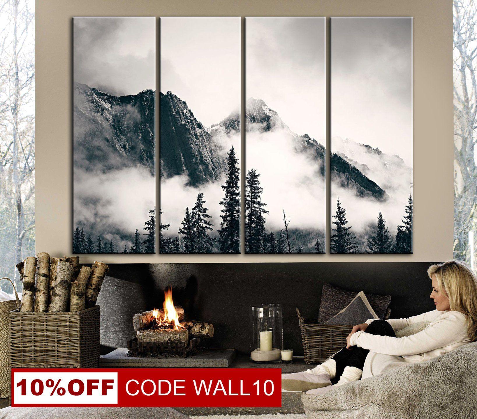 Mountains Canvas Black And White Mountains Wall Art Large Etsy Mountain Wall Art Wall Art Prints Photo Wall Decor