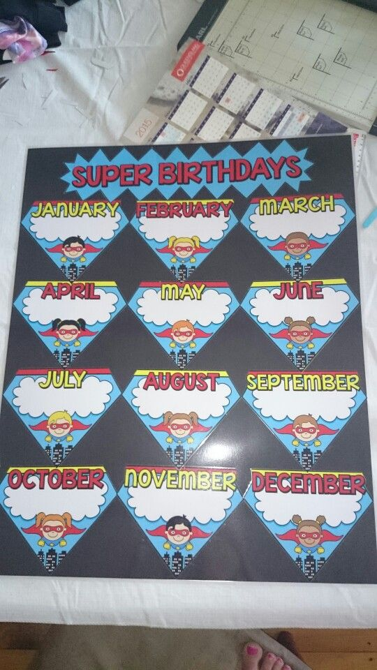 My birthday chart is all finished. Loving the super hero ...