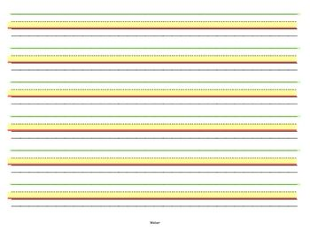 Lined writing paper for handwriting intervention