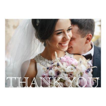 Stylish Modern Photo Wedding Thank You Card