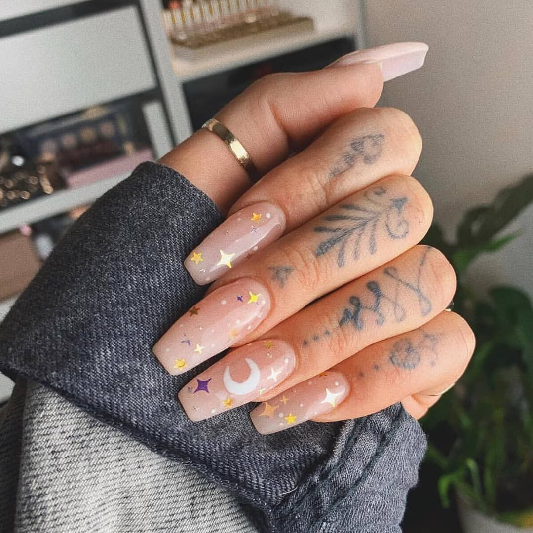 "NAF! Salon on Instagram: ""We had to squeeze in one last look at this beautiful set we created for our bestie @jamiegenevieve ⭐🌙 Teamwork makes the dream work,…"""