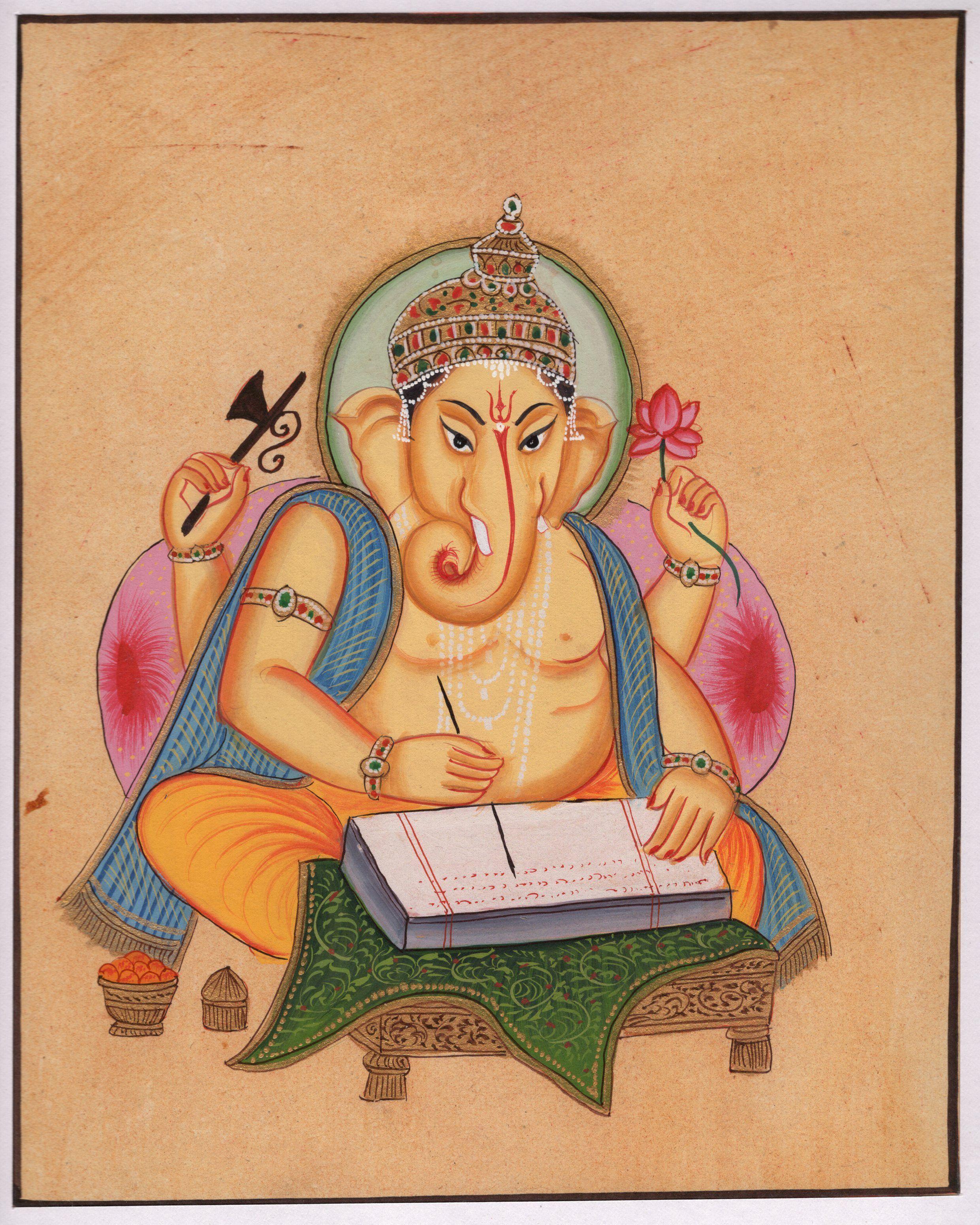 lord ganesha n miniature painting handmade ganesh hindu lord ganesha n miniature painting handmade ganesh hindu religion art