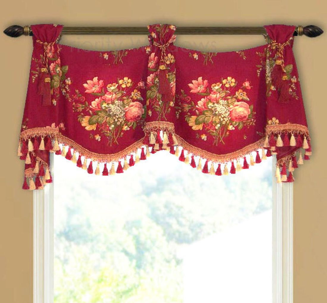 Red & Gold Trumpet And Jabot Lined Valance In Kingsway's
