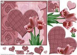 Plum Tulip Hearts Quick Card