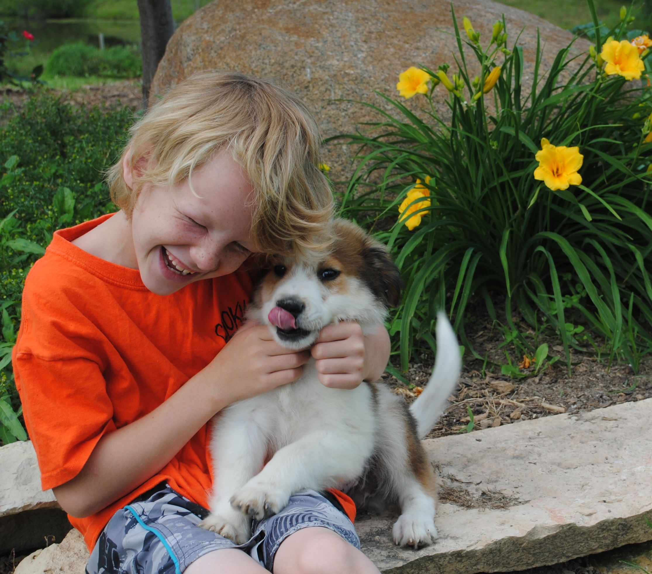 Grandson with another adorable rescued puppy. He was one ...