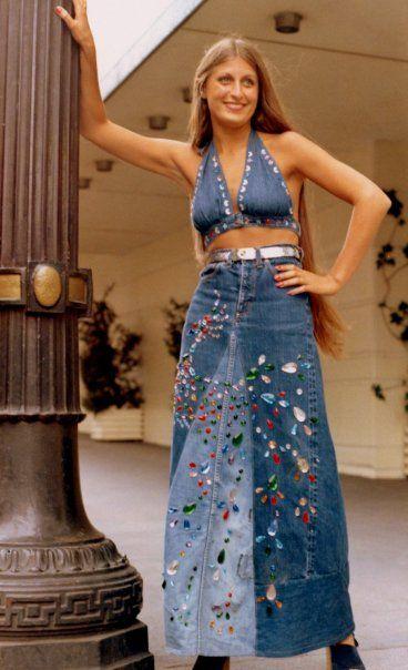 1970 recycled jeans skirt and halter tops  Jeans Skirt #2dayslook #susan257892 #JeansSkirt  www.2dayslook.com