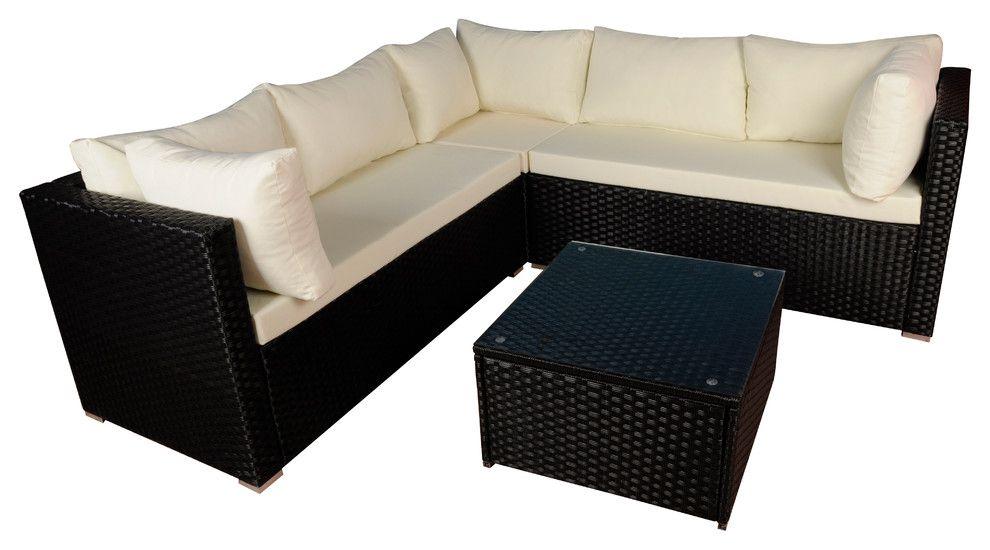 Modern Outdoor Garden Sectional Wicker Sofa Set With ...