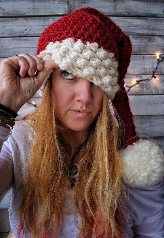 Chunky Knit Santa Hat  Adult Santa Hat  Child Santa Hat  FREE US SHIPPING 34c00b117ee