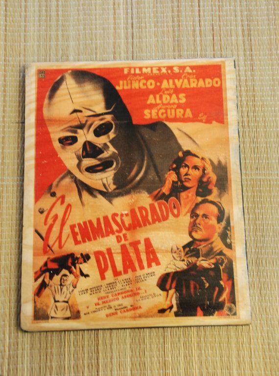 Original wood transfer  el enmascarado de by valazozartandvintage, $20.00