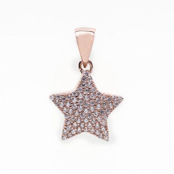 #Colgante en forma de #estrella elaborado en #plata 925 #bañada en #oro #rosa, decorada con #circonitas blancas.#Joyas #jewelry #pinkgold #silver #thebestgift #elmejorregalo #star #meencanta #iloveit #Qillqa