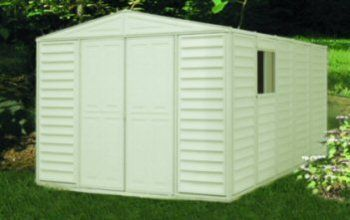 Duramax Model 00514 10 13 Woodbridge Vinyl Storage Shed With Foundation Vinyl Storage Sheds Shed Storage Shed