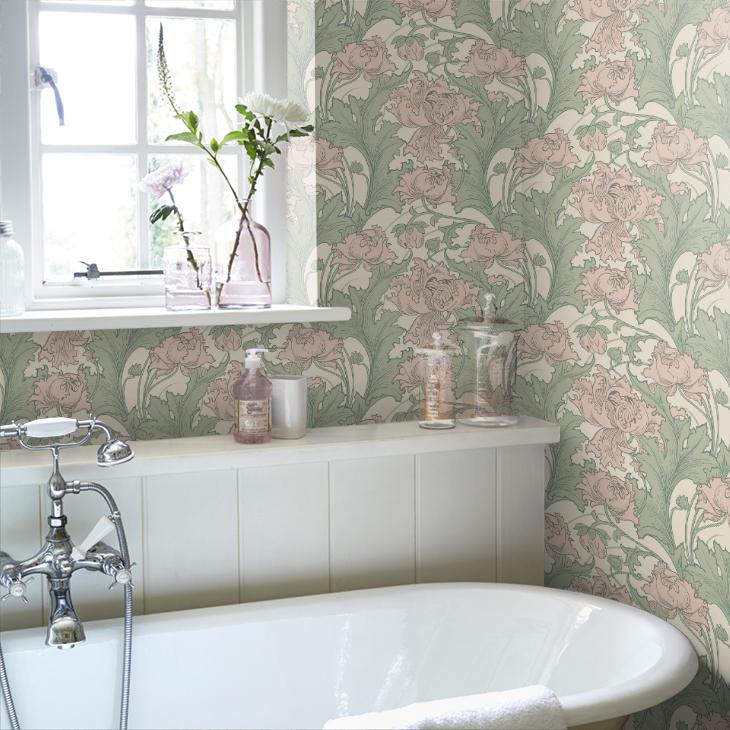 Pin by Leah R on Bathroom Green wallpaper