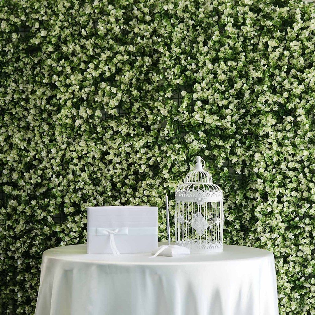 4 pcs green and white artificial boxwood greenery foliage on interior using artificial boxwood panels with flowers id=97269