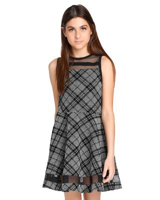 Sally Miller Girls' Emerson Plaid Fit-and-Flare Dress - Big Kid - Multi #sallymiller