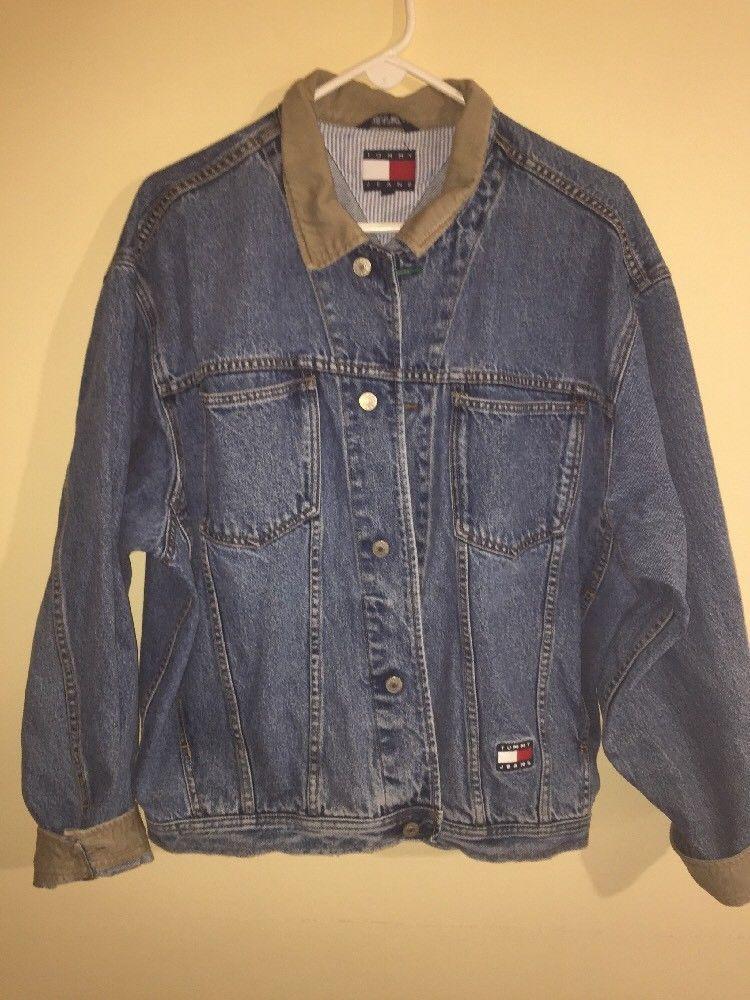 Vintage 90s Tommy Hilfiger Denim Trucker Jacket Blue Jean Logo Mens Sz Large #TommyHilfiger #JeanJacket