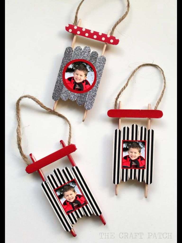 Popsicle Stick Sled Ornament With Photos Perfect Craft For Kids To Make At School Give Parents Christmas Im Tucking This Idea Away