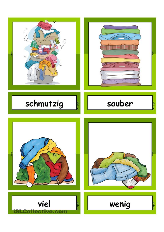 Waschtag_Adjektive _ Flashcards klein | Schule, Deutsch und ...