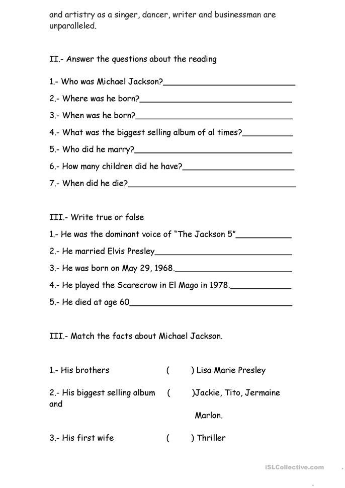 michael jackson biography worksheet movie titles spanish high school spanish. Black Bedroom Furniture Sets. Home Design Ideas