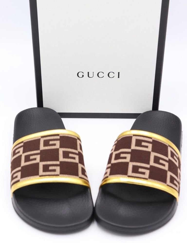 3fcd20828344 NIB GUCCI Pursuit GG Knit Brown Gold Slide Sandals New 11  Gucci  Slides