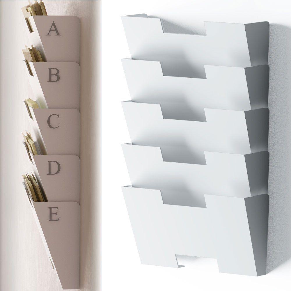White Wall Mount Steel File Holder Organizer Rack 5