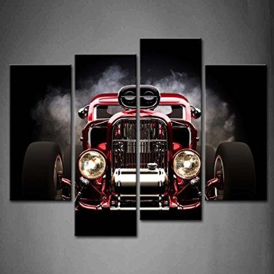 4 Panel Wall Art Hot Rod With Smoke Background On Black Painting The ...