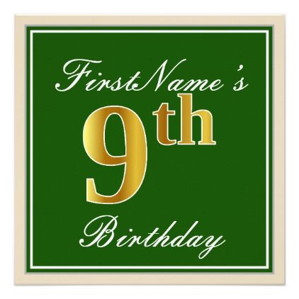 Elegant green faux gold 9th birthday name card birthday gifts elegant green faux gold 9th birthday name card birthday gifts party celebration custom gift ideas negle Images