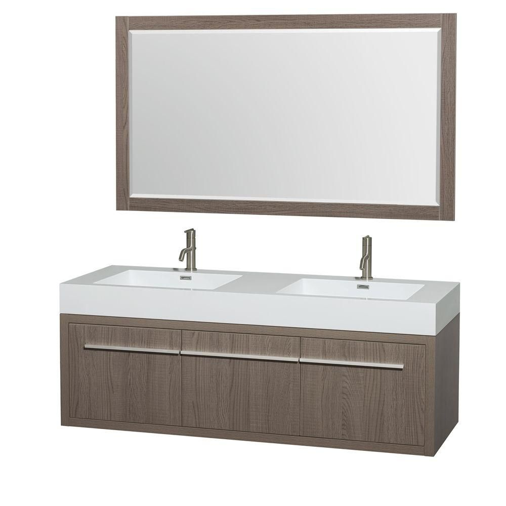 Wyndham Collection Axa 60 In Double Vanity In Gray Oak With