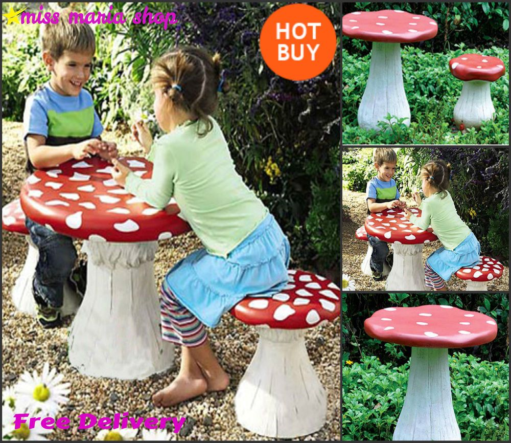 Kids Garden Table Set Stools Furniture Seats Mushroom Plastic Play